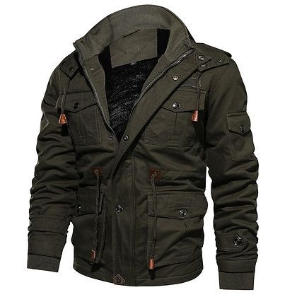 Male Military Jacket  Warm Hooded Coat Thermal Thick Outerwear