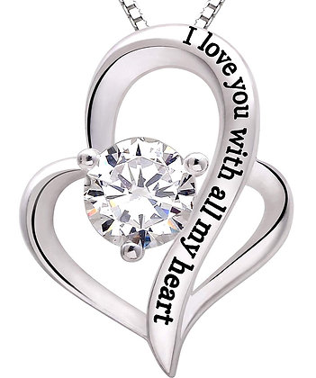 I Love You With All My Heart Swarovski Elements Necklace in 18K White