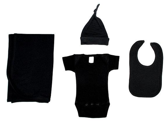 Black 4 Piece Layette Set