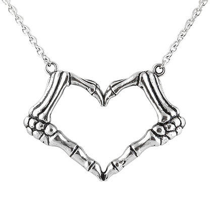 Skeleton Hand Heart Necklace - I Love You To Death