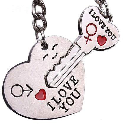 I LOVE YOU Heart And Key Keychain Ring Set