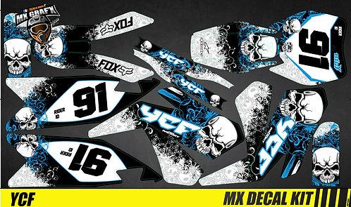 Kit Déco Moto pour / Mx Decal Kit for YCF - Blue Skull