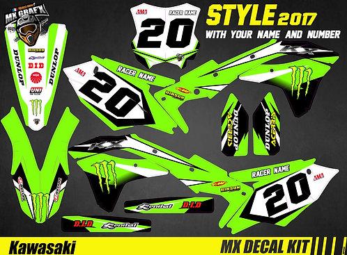 Kit Déco Moto pour / Mx Decal Kit for Kawasaki - Style_2017