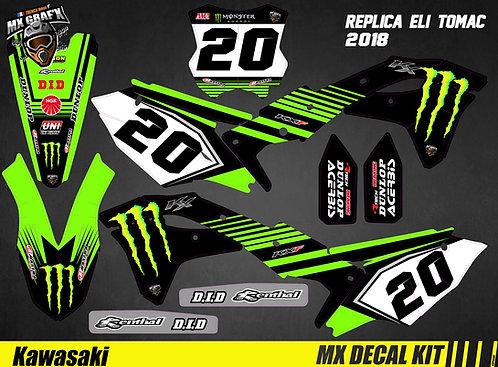 Kit Déco Moto pour / Mx Decal Kit for Kawasaki - Eli_Tomac_Replica_2018