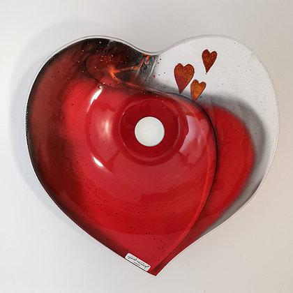 Hjerteskål, stor. 30 cm.