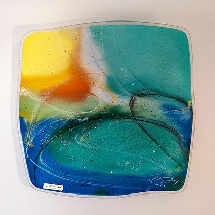 Abstrakt fargeglede, 32x32 cm.