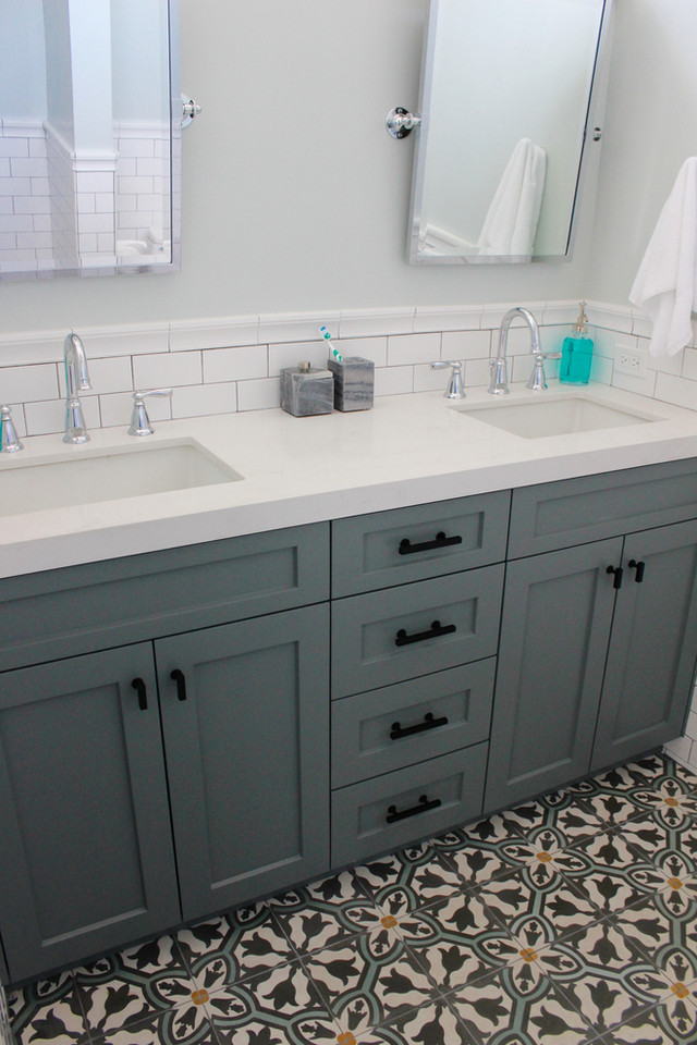 Spruce - bathroom remodel with cement tile. See more design and organizing inspiration at www.spruceyourspace.com