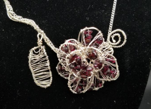 Garnet Rose Necklace