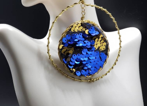 Sequins Blue & Gold Hoops