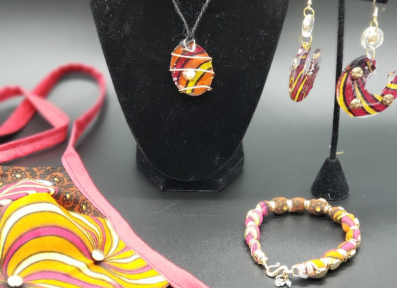 Warm Golden Swirl Jewelry Set