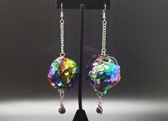 Rainbow Sequin Ball Earrings