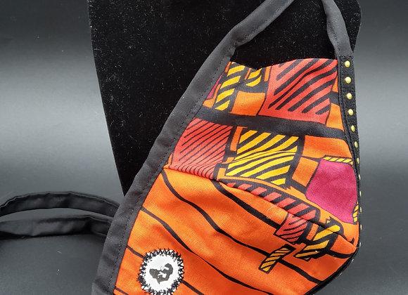 Orange/Red Fabric Mask & Bracelet Set