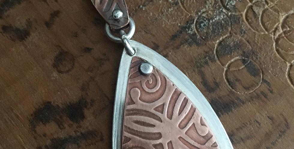 Copper +sterling silver pendant