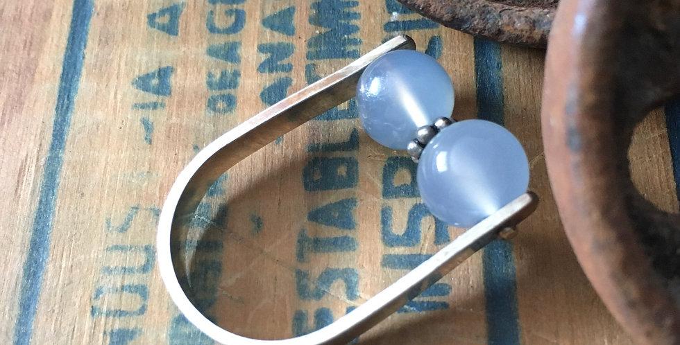 Blue chalcedony bead ring