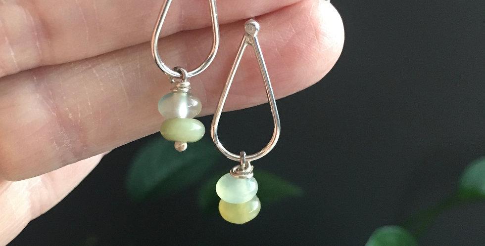 Sterling silver + chalcedony bead post earrings