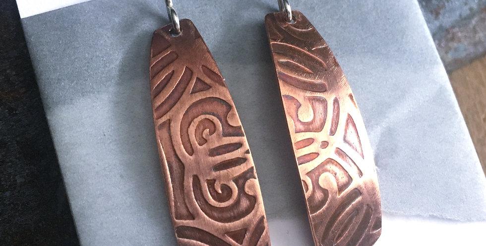 Patterned copper earrings