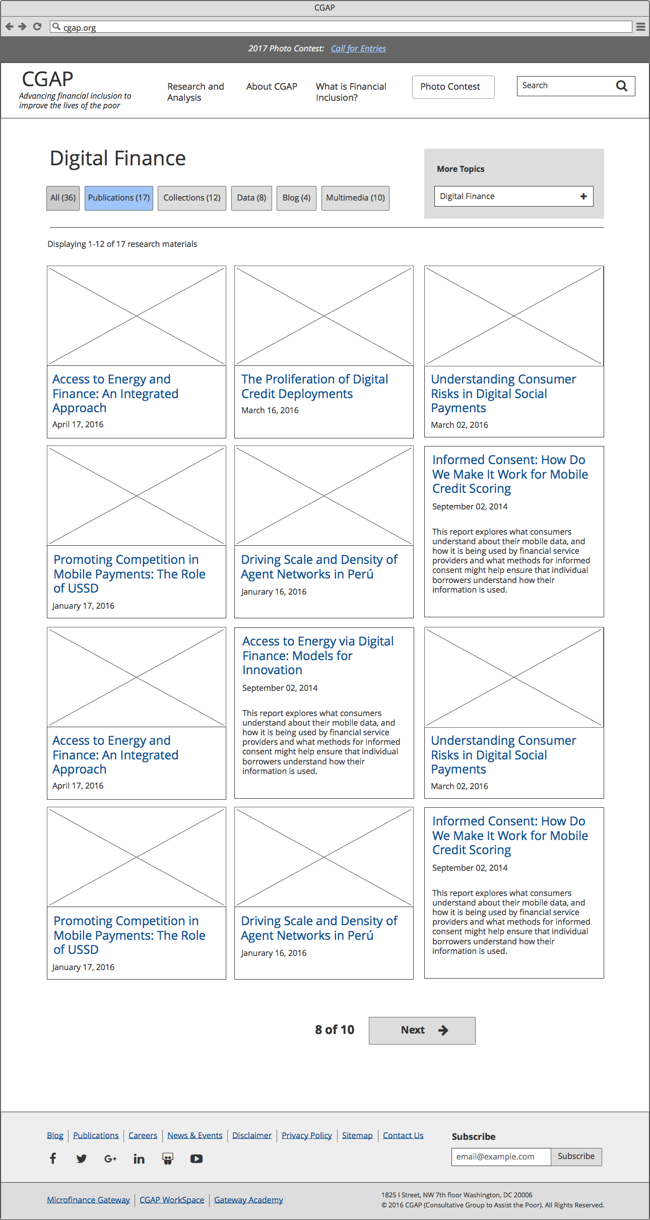 Topic page wireframe