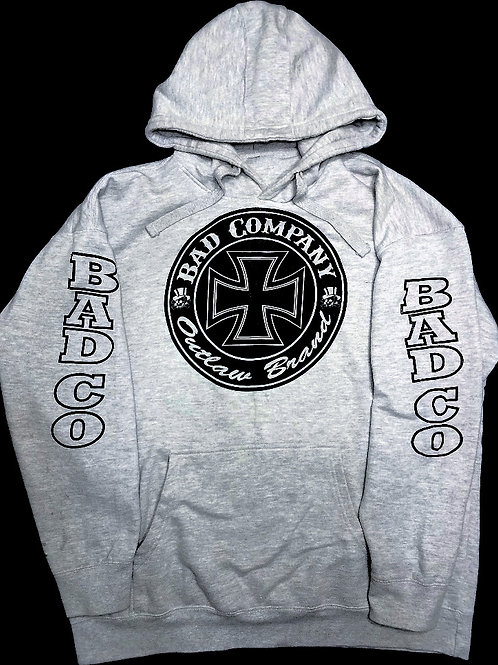 Grey Hoodie With Large Black Ironcross Logo And Bad Co. Sleeves