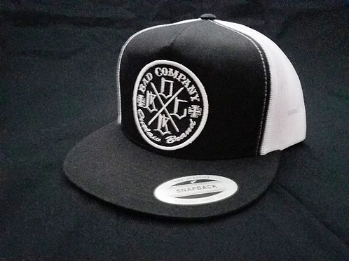 Black & White Snap Back Bad Co. Trucker Hat