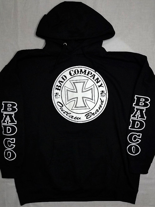 Black Hoodie With Large White Ironcross Logo And Bad Co. Sleeve