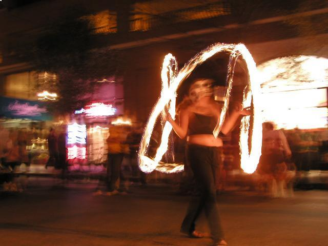 Fire poi on South Street
