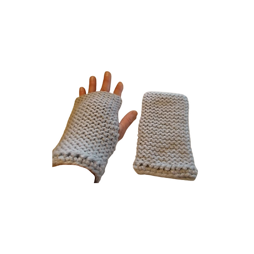 Solid Grey Thick Wool Texting Gloves