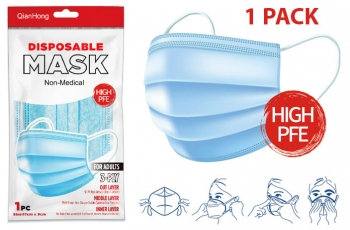3Ply Face Mask - Blue - 1, 3, & 5 Packs