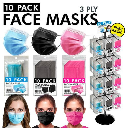 3Ply Face Masks - 3 Assorted Colors - Packs of 10