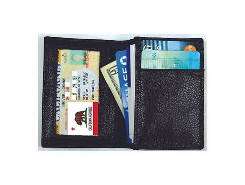 Leather RFID Blocking Card Wallet - Black & Brown