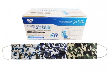 3Ply Face Masks - Assorted Camo Prints - Boxes of 50