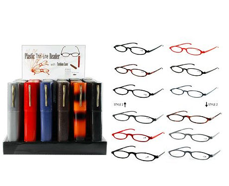 Plastic & Metal Frame Reading Glasses in Hard Shell Cases & Countertop Display