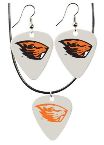 Beavers Necklace & Earring Set - Guitar Pick Style