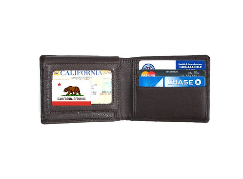 Leather RFID Blocking Bifold Wallet - Black & Brown
