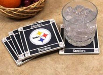 """Steelers 4"""" Ceramic Coaster Set - 4 Pieces"""