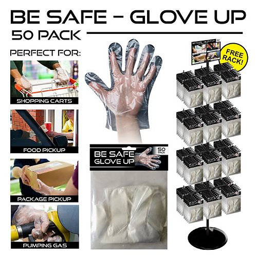 Disposable Gloves - Packs of 50 - With Spinner Rack