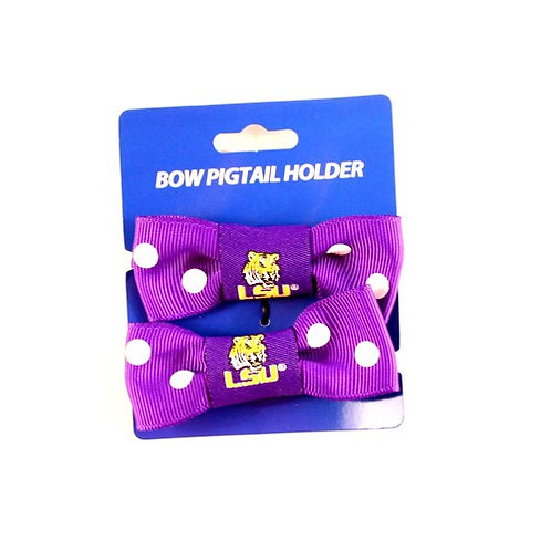 LSU Bow Style Ponytail & Pigtail Holders