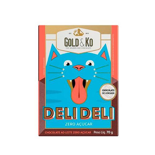 Chocolate ao Leite Zero Açúcar DeliDeli - GoldKo - 70g