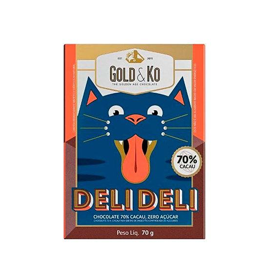 Chocolate 70% Cacau Zero Açúcar DeliDeli - GoldKo - 70g