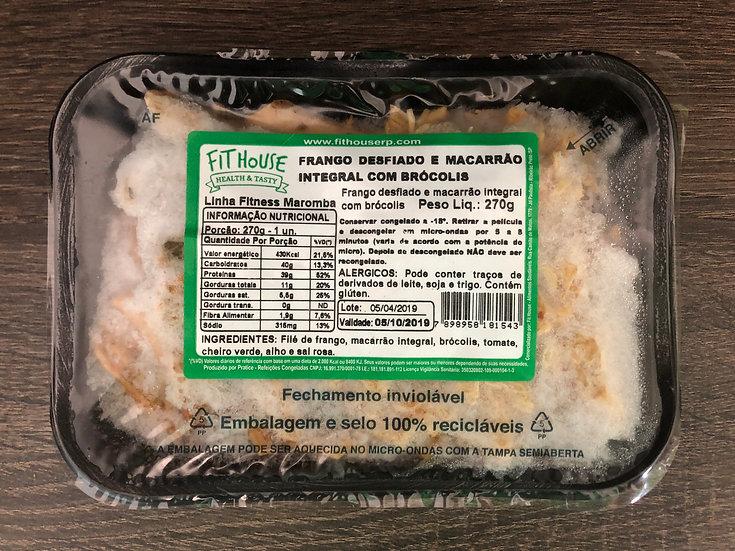 Frango desfiado e macarrão integral com brócolis - 270g