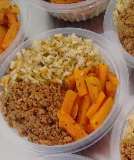 Carne moída com arroz integral e cenoura - 250g