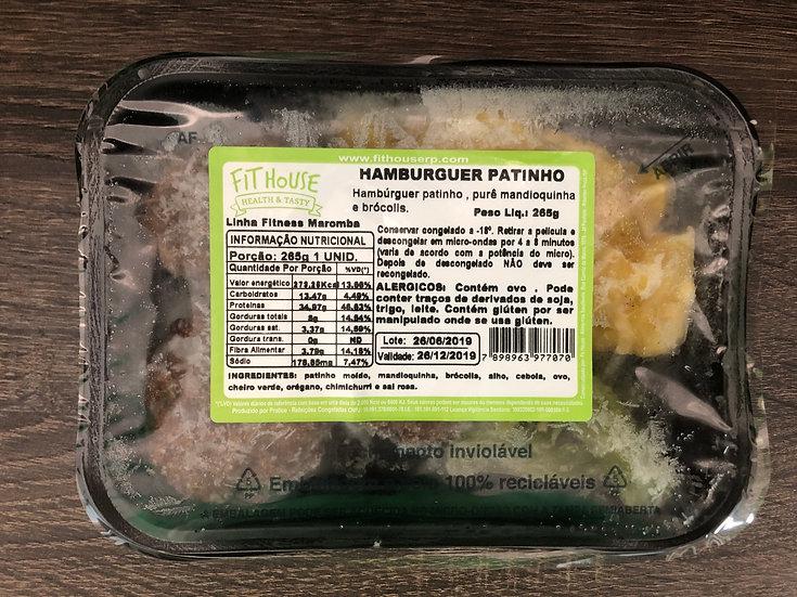 Hambúrguer de patinho com purê de mandioquinha e brócolis - 265g