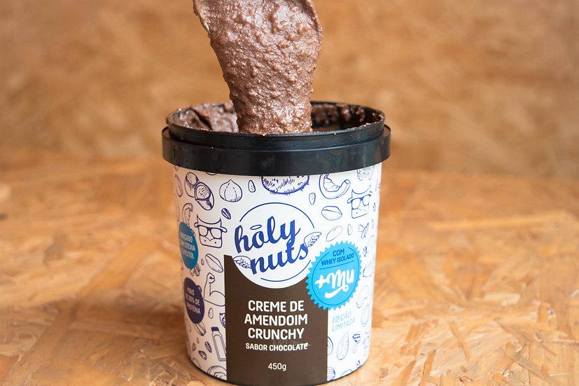Creme De Amendoim Crunchy Chocolate Whey+Mu - 450G - Holy Nuts