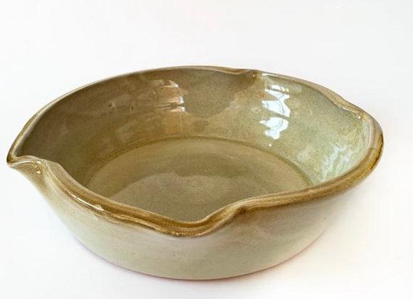 "Cream, Yellow and Blue 9"" Deep Dish Ceramic Pie Plate"