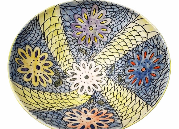Carved Ceramic Bowl with Flowers
