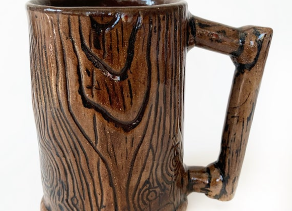 Large Rustic Ceramic Tree Mug for Him Wheel Thrown Pottery Free Shipping