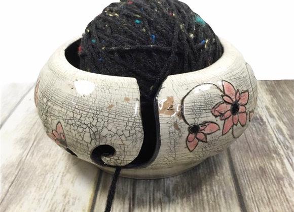 Handmade Distressed, Rustic Ceramic Yarn Bowl for Crochet or Knitting