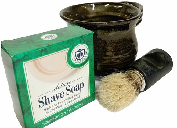 Shave Mug Gift Set for Him Wheel Thrown Stoneware Pottery Rustic Green Ready to