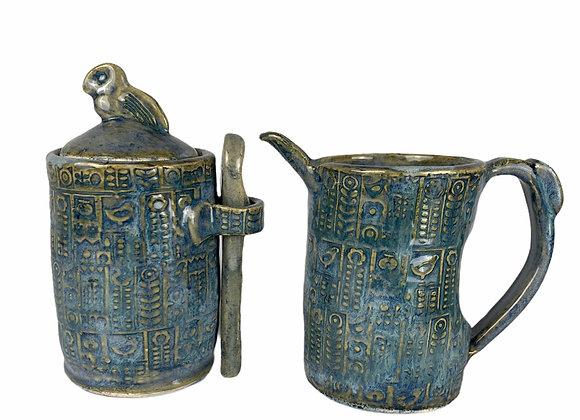 Handmade Ceramic Creamer and Sugar Set-Sky Blue-Stoneware Clay Pottery
