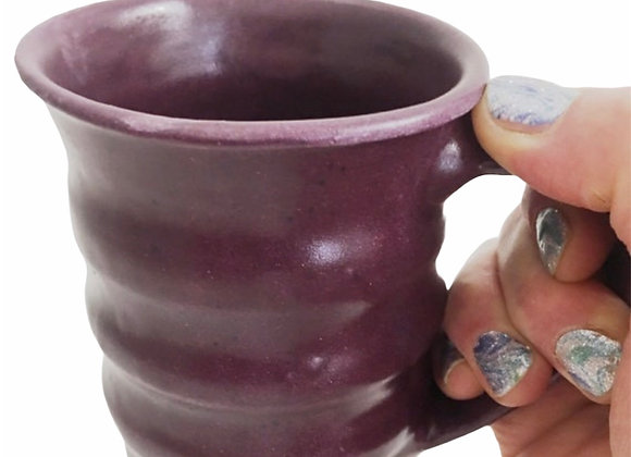 Curvy Purple Wheel Thrown Ceramic Mug Handmade Pottery