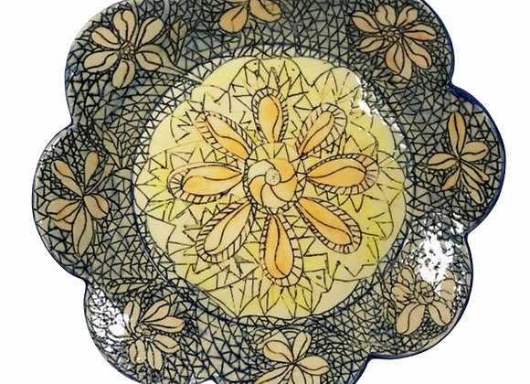 Hand Carved Ceramic Flower Plate,